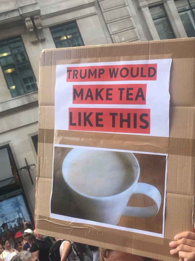 Hilarious anti-Trump sign.