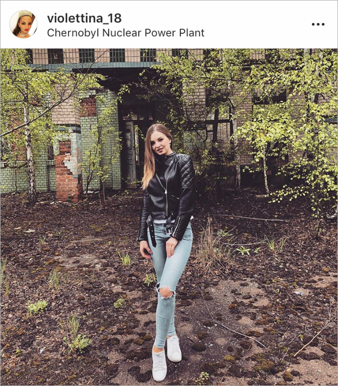 Instagram influencer in Chernobyl.