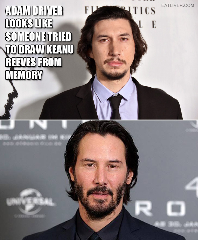 Adam Driver looks like someone tried to draw Keanu Reeves from memory.