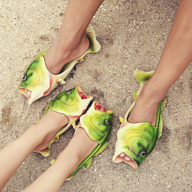 Funny fish slippers.