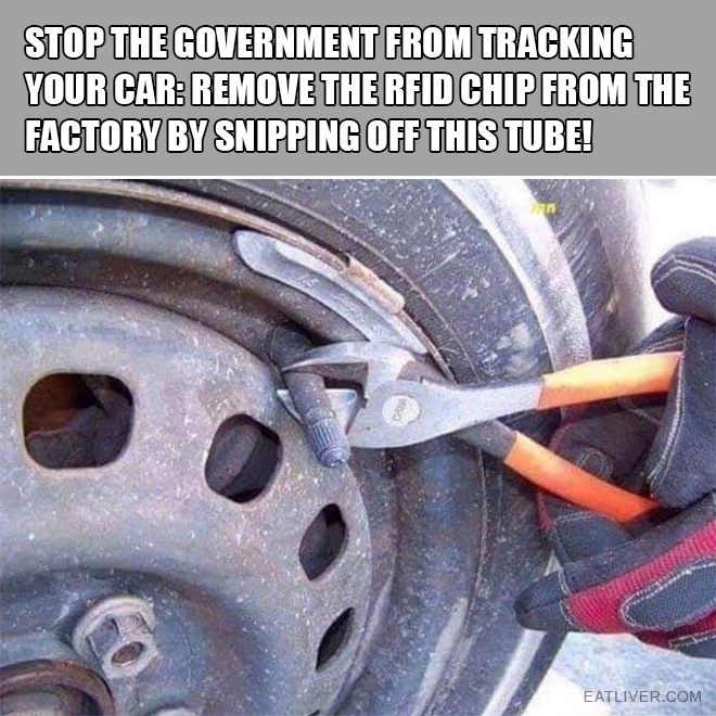 Stop the government from tracking your car: Remove the RFID chip from the factory by snipping off this tube!