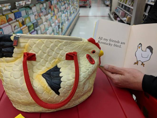Rubber chicken purse.