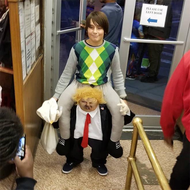 Hilarious Trump ride-on costume.