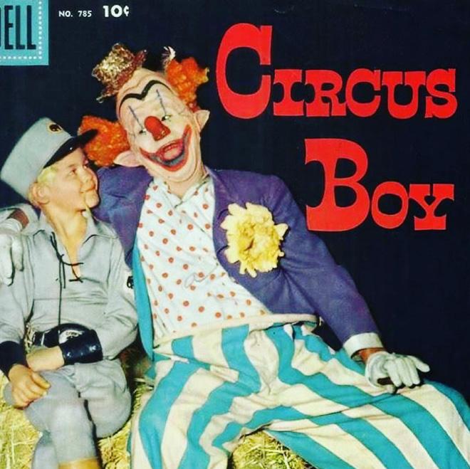 Creepy vintage clown album cover.