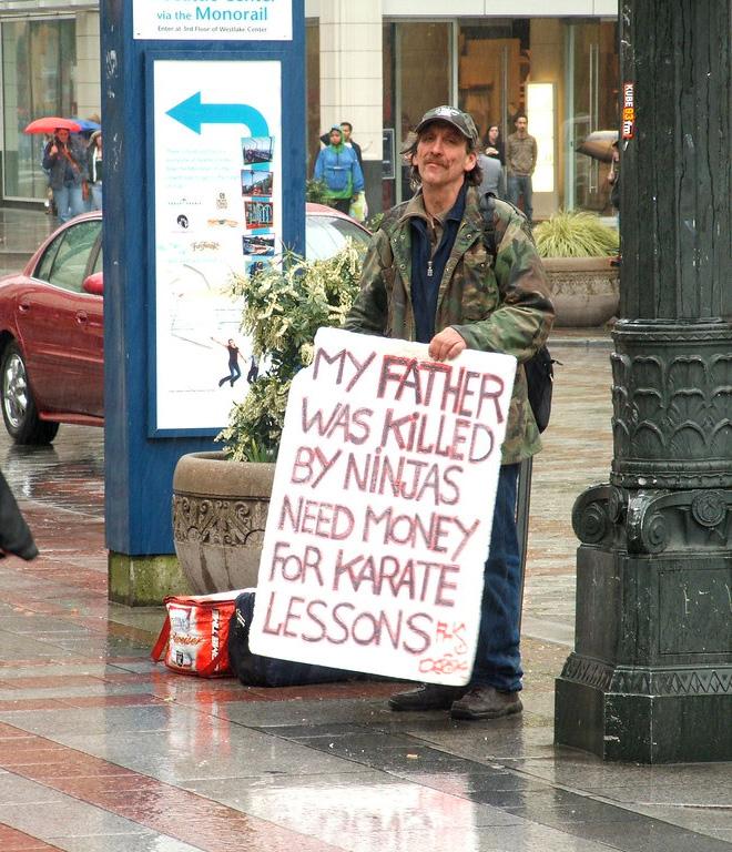 Hilarious homeless sign.