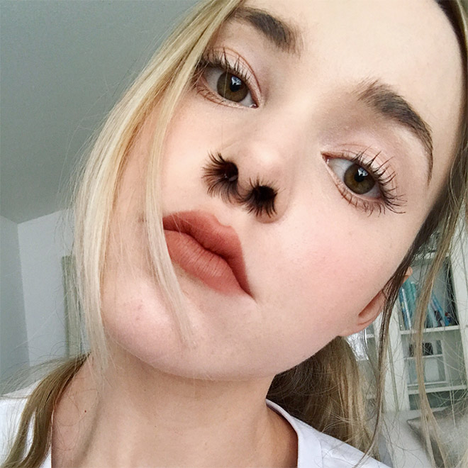 Nostril hair extensions - awkward Instagram beauty trend.