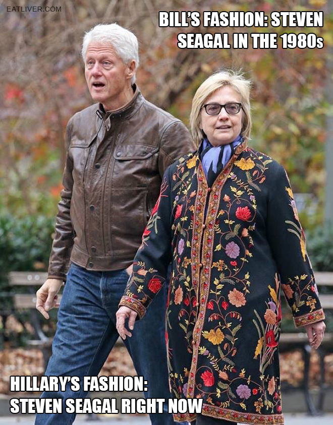 They look so great together with their matching Steven Seagal outfits!