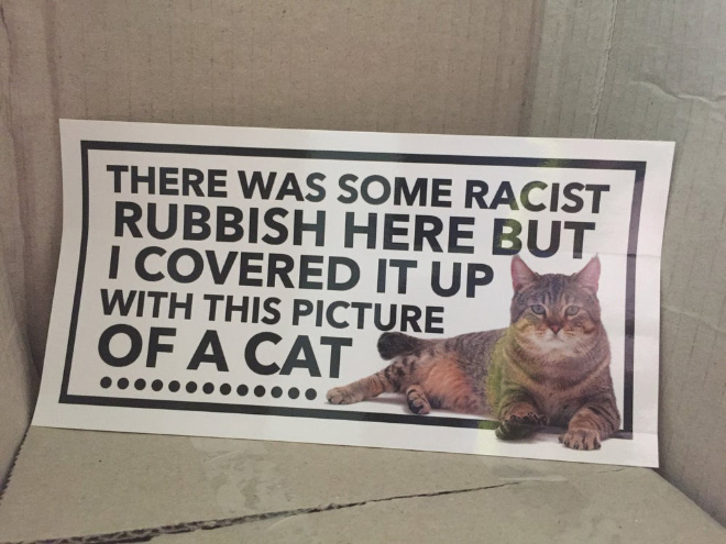 Funny way to fight racism.