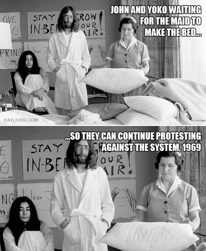 John and Yoko waiting for the maid to make the bed so they can continue protesting against the system, 1969.