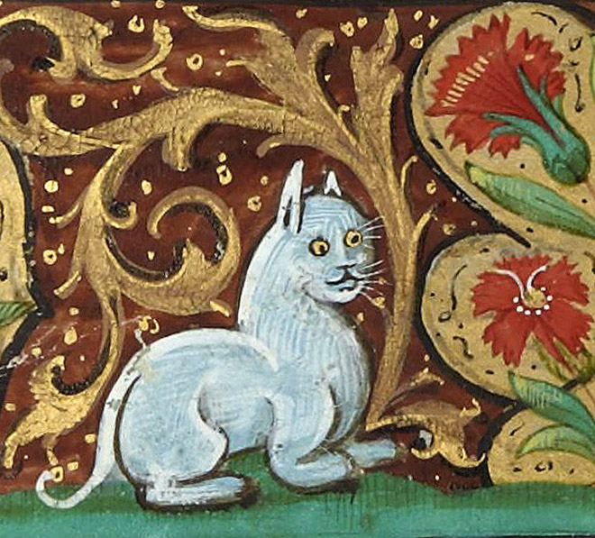Ugly medieval painting of a cat.