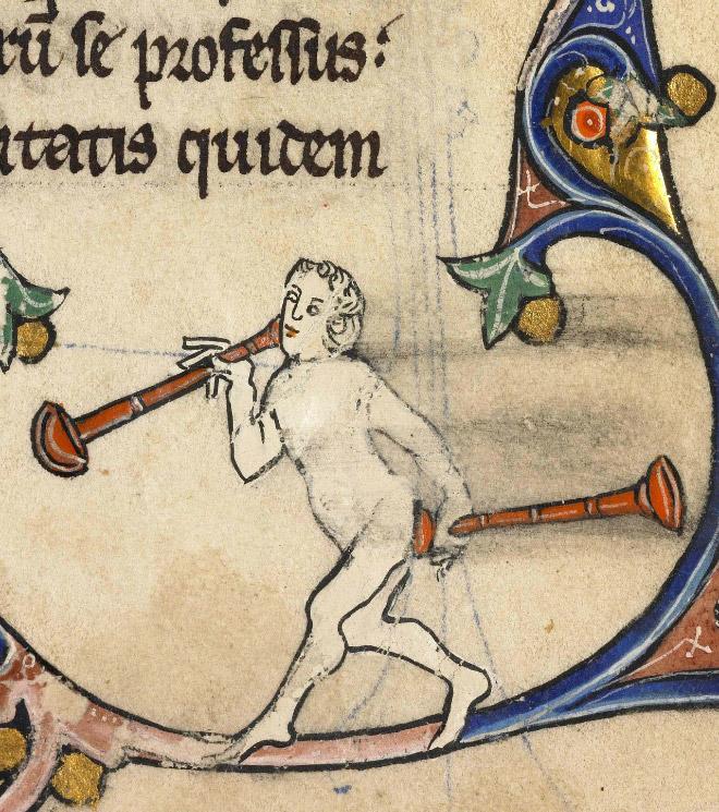 Medieval butt trumpeter.
