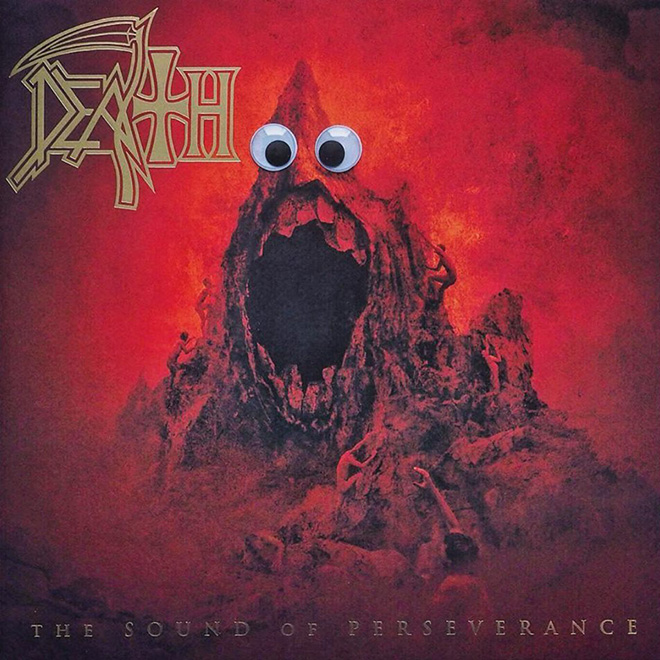 Heavy metal album with googly eyes.