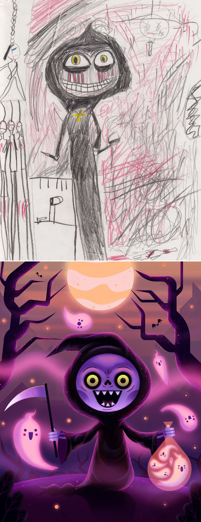 When kids' doodles get recreated by a professional artist.
