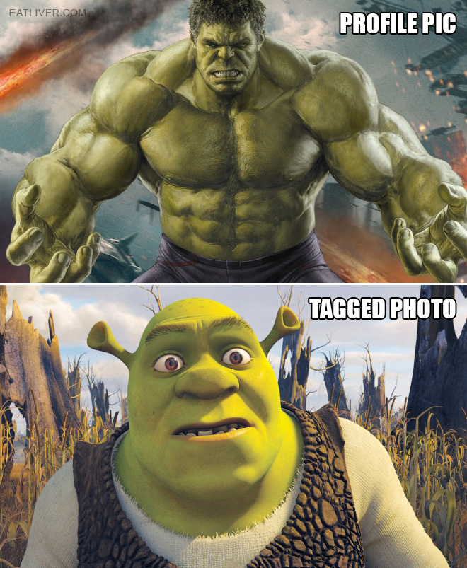 Profile picture vs. tagged photo.