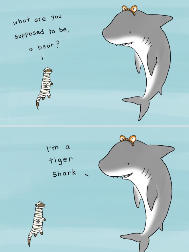 Funny animal Halloween cartoon.