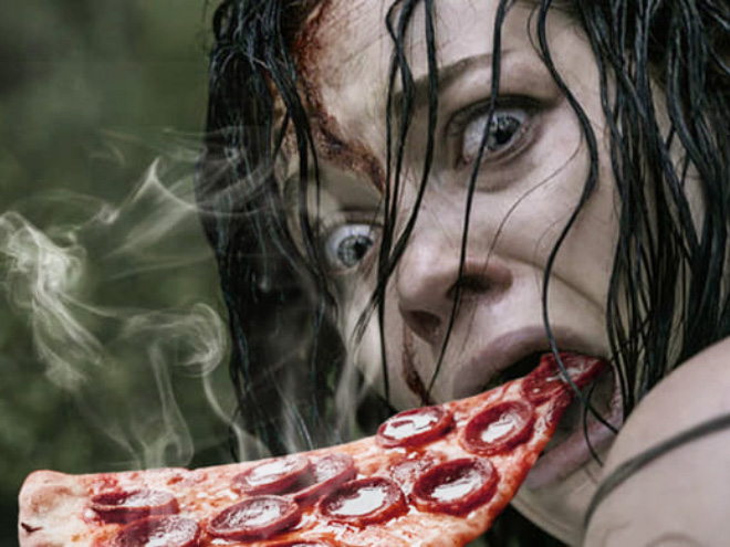 Horror movie scream with added hot pizza.