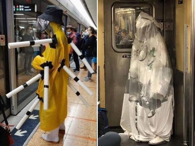 Some people wear masks in strange ways...