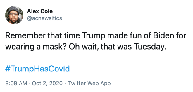 Twitter users react to Trump getting COVID-19.
