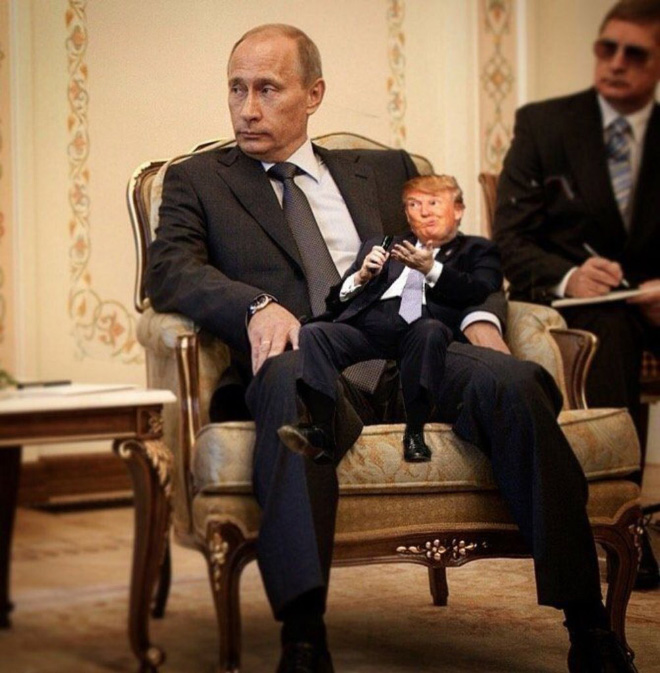 Little Donald and Papa Putin.