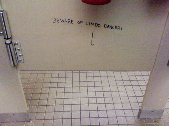 Polite toilet graffiti.