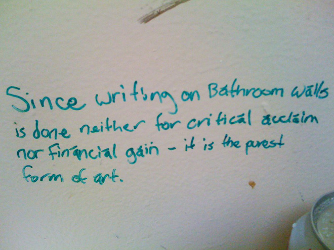 Polite toilet graffiti.