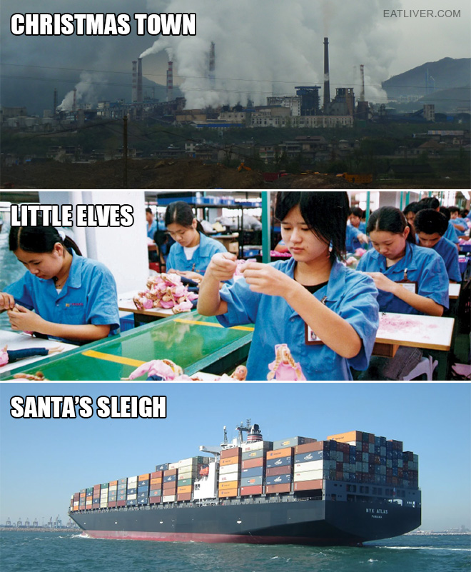 The sad truth about Christmas town, little elves, and Santa's sleigh.