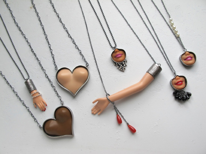 Jewelry made from chopped up Barbie parts.