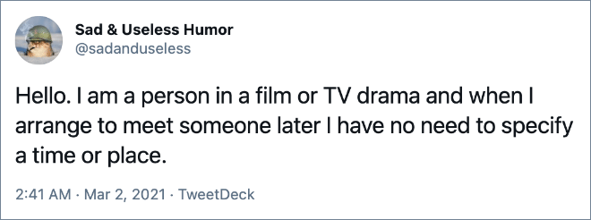 Happens only in movies.