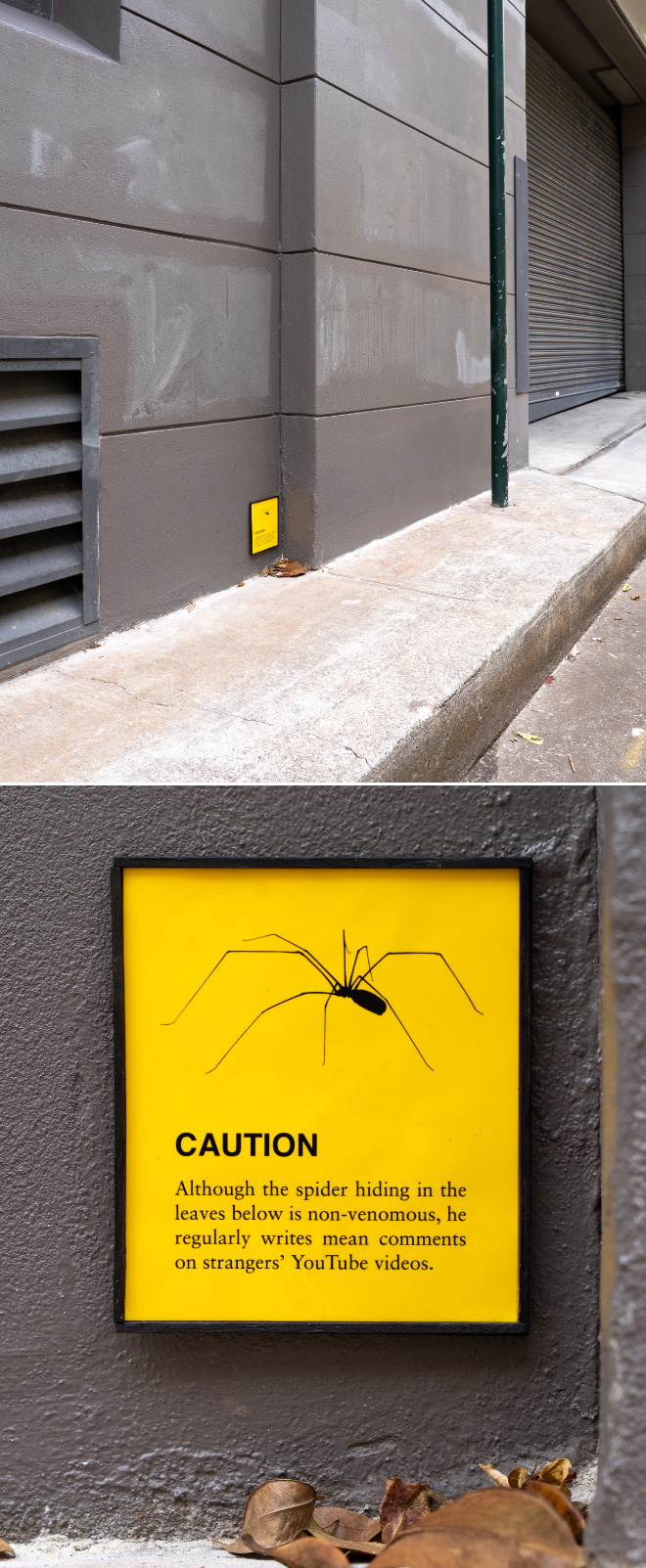 Funny sign by Australian artist Michael Pederson.