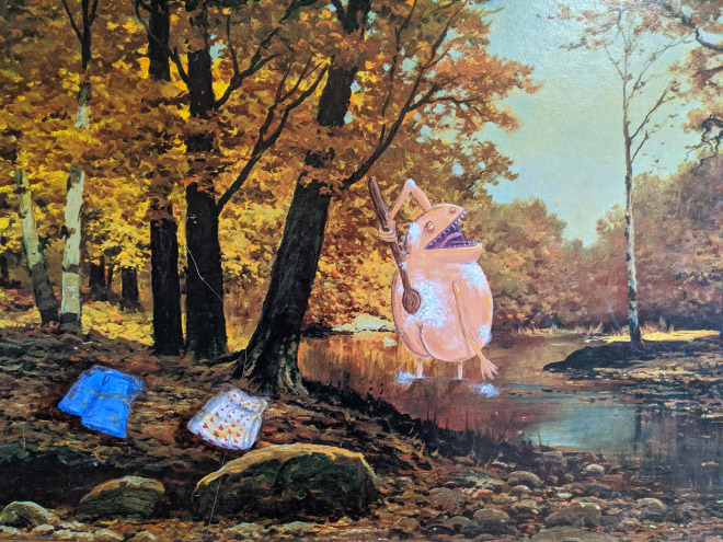 Brilliantly improved thrift store painting.