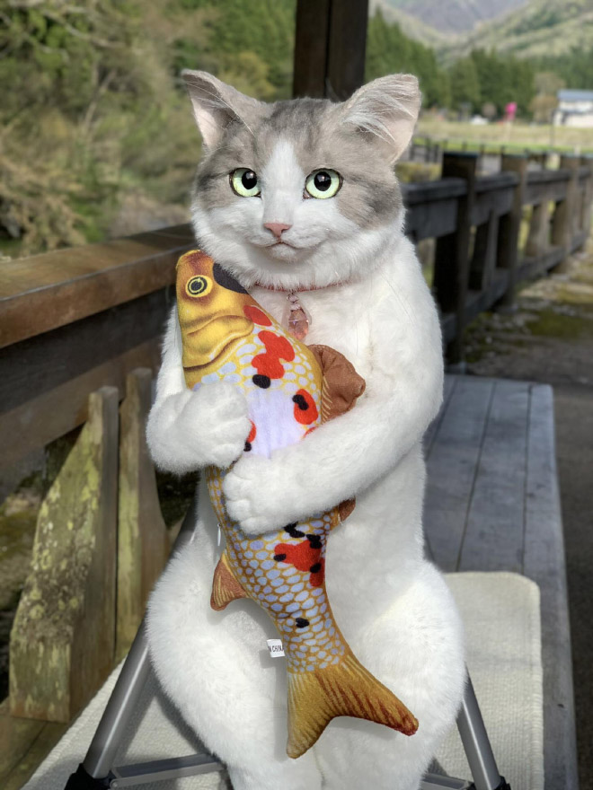 Realistic cat backpack.