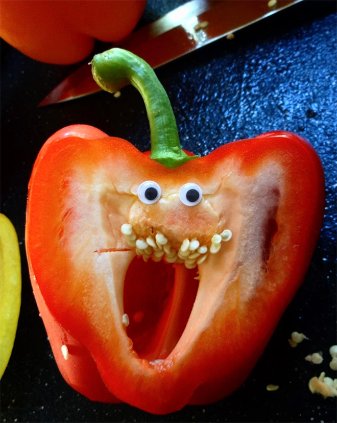 Googly eyes make cutting bell peppers much more fun!