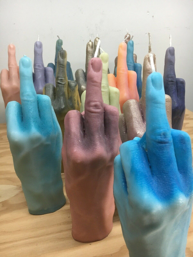Middle finger candles.