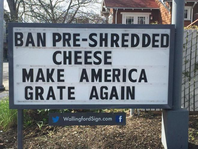 Brilliant gas station sign.