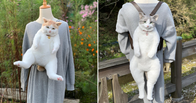 Realistic Cat Backpack That Looks Like a Live Cat