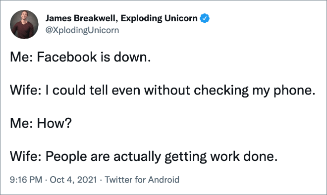 Funny reaction to Facebook, WhatsApp, and Instagram going down.